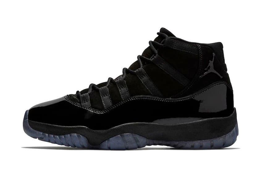 "Air Jordan 11 ""Cap and Gown"" Release date black jordan brand prom night all black patent leather suede"