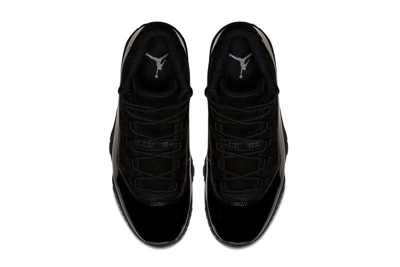 "Air Jordan 11 ""Cap and Gown"" Release date black jordan brand prom night all black patent leather suede"