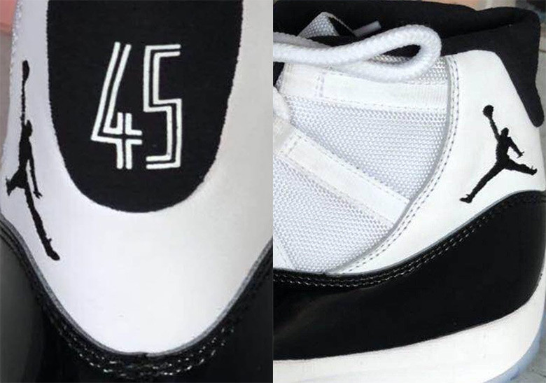 Air Jordan 11 Concord 2018 Retro 45 heel december 8 2018 release date info drop sneakers shoes footwear tinker hatfield michael jordan black white mesh patent leather icy clear sole jordan brand jumpman