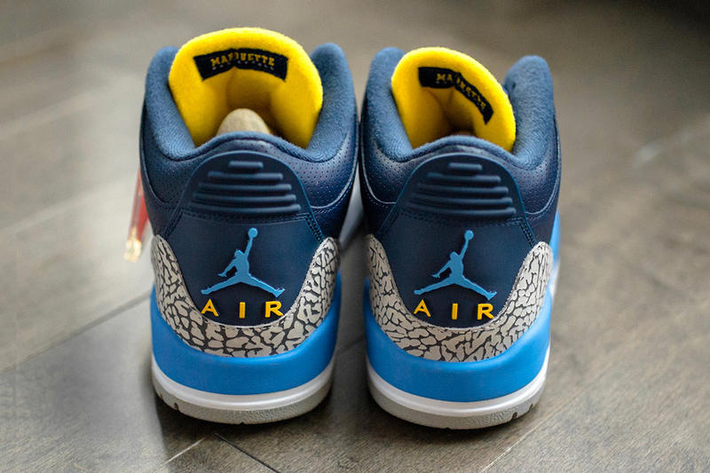 Air Jordan 3 Marquette University PE Detailed Look Blue Yellow Grey Cement gold