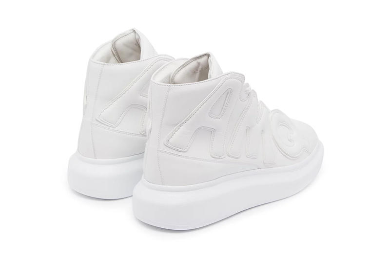 Alexander McQueen AMQ White High Top Leather Trainers Raised sole appliquéd chunky release info purchase price sneakers footwear