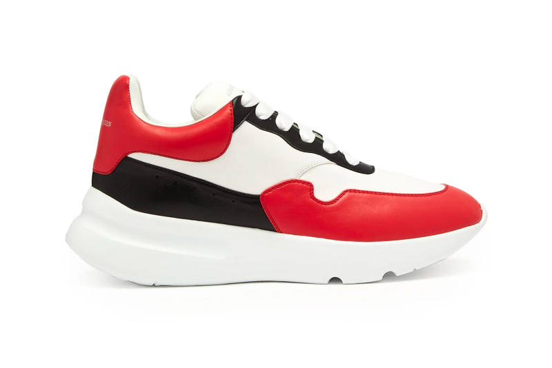 b83ee7db6d4d Alexander McQueen Leather Trainer red black white release info sneakers  footwear chunky