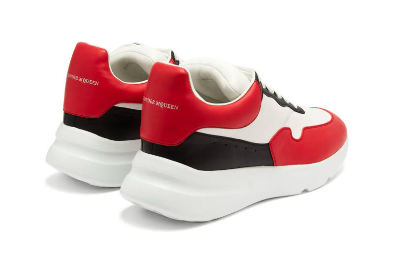 Alexander McQueen Leather Trainer red black white release info sneakers footwear chunky