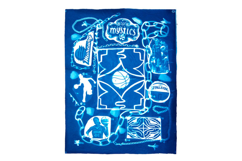 andrea bergart peace love basketball cyanotype fabric art artwork exhibitiona