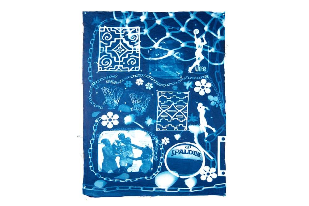 andrea bergart peace love basketball cyanotype fabric art artwork exhibitiona