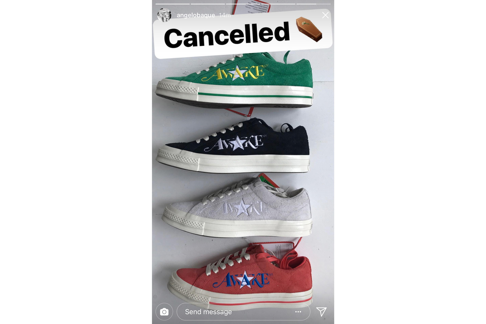 Angelo Baque Cancelled Awake Converse One Star Collaboration may 25 2018