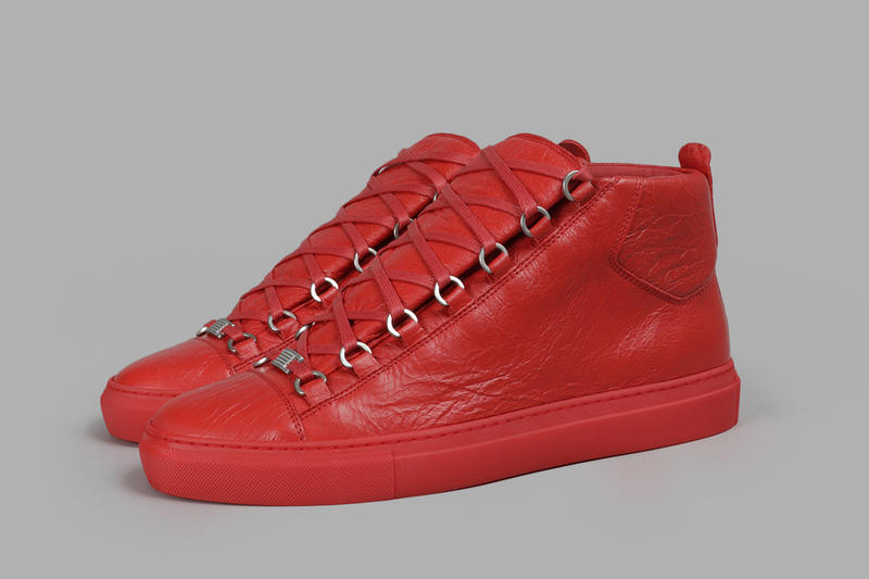 Balenciaga Arena Creased sneaker red leather release info footwear shoes