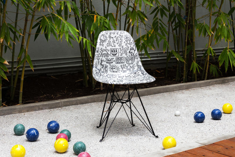 beyond the streets modernica case study side shell chair futura keith haring jean michel basquiat art artwork furniture house decor