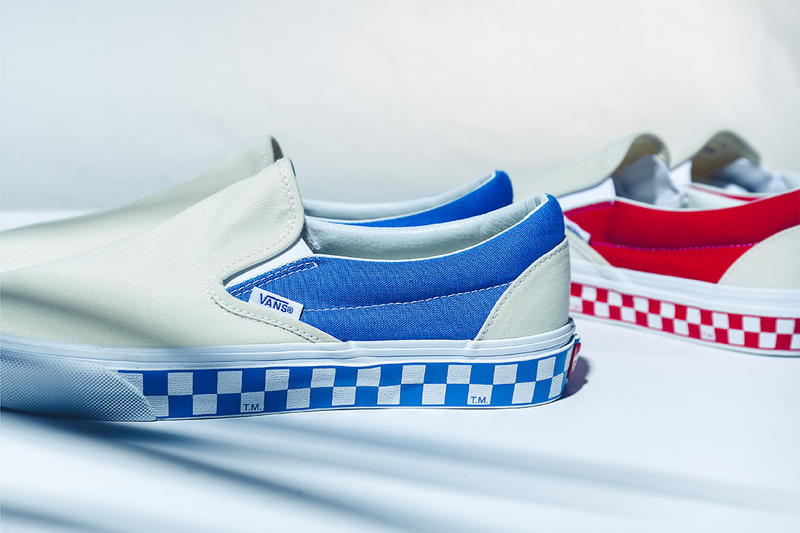 billys ent japan vans exclusive side wall check red blue drop release info look closer VN0A38F7RA6 may 2018 slip on