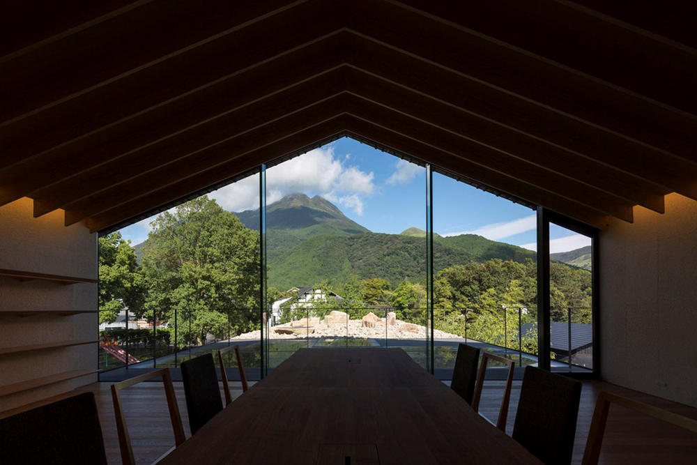 Comico Art Museum Complex Kengo Kuma Architect Exhibition Landscape Mountains Views Mount Yufu Warm-Colored Wood Interior Three Buildings 'Small Village' Pool