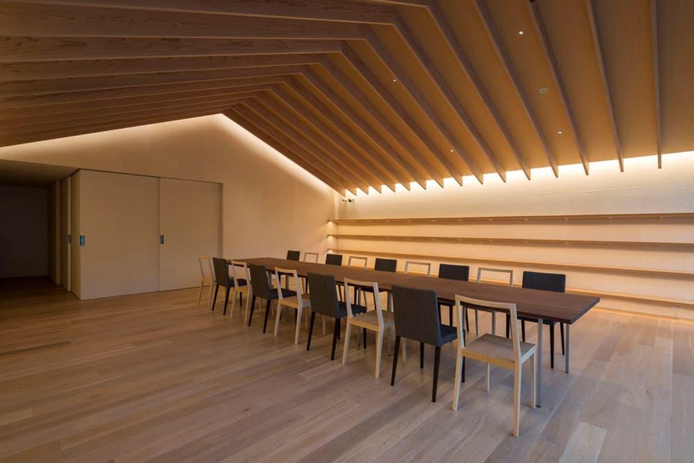 Comico Art Museum Complex Kengo Kuma Architect Exhibition Landscape Mountains Views Mount Yufu Warm-Colored Wood Interior Three Buildings 'Small Village' Pool