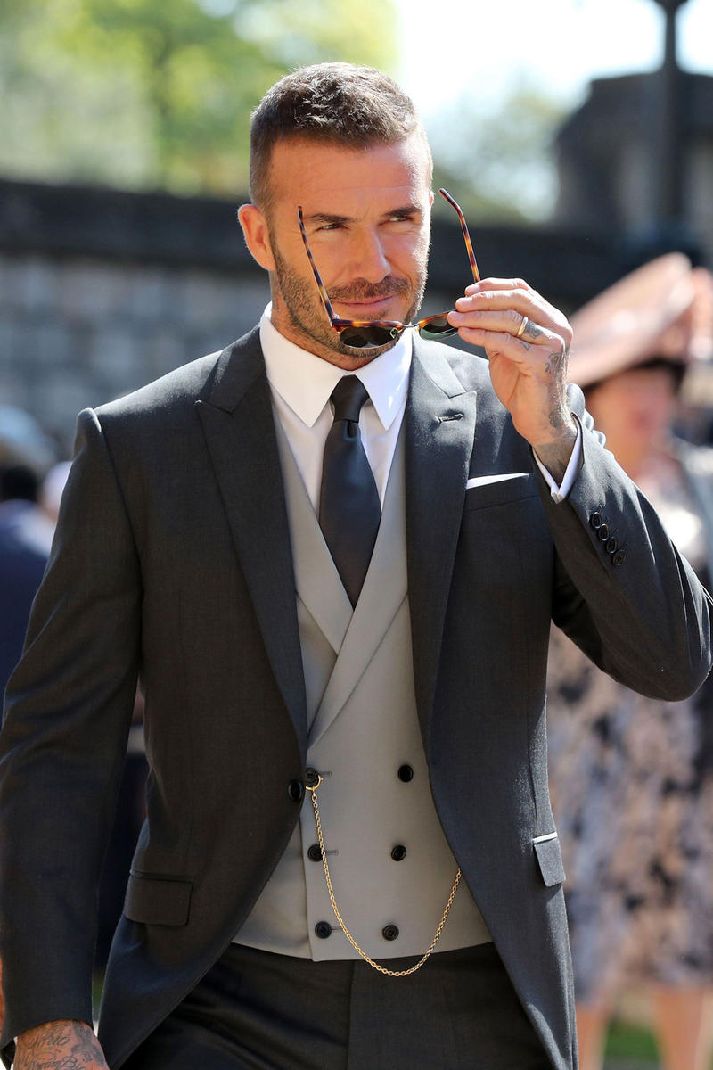 David Beckham Kim Jones Dior Homme Suit Royal Wedding Black Grey Three  Piece Prince Harry Meghan 12d321f4873