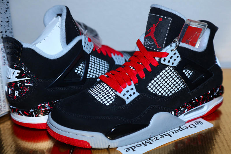 Drake Unreleased Air Jordan 4 Splatter Look Red Black Bred Brand OVO PE Sample