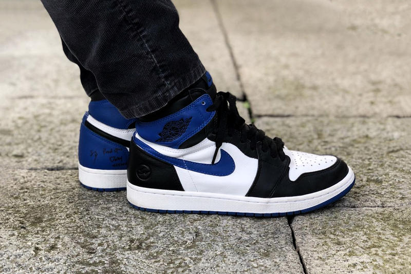 fragment design x Air Jordan 1 Mismatched Sample Royal Blue Black Bolt