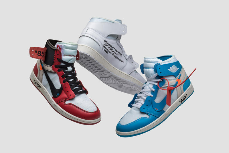 GOAT HYPEBEAST GIVEAWAY Virgil Abloh Nike Air Jordan 1 Off White Chicago All White UNC Powder Blue Three Pairs Instagram One Winner Enter Here Sneakers AJ1