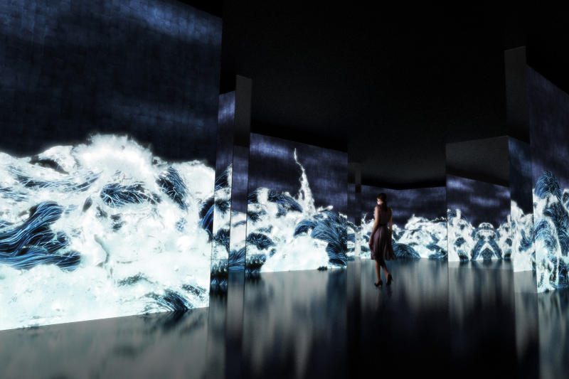 teamlab waterness exhibition osaka japan dojima river forum black waves wander discover reemerge installations