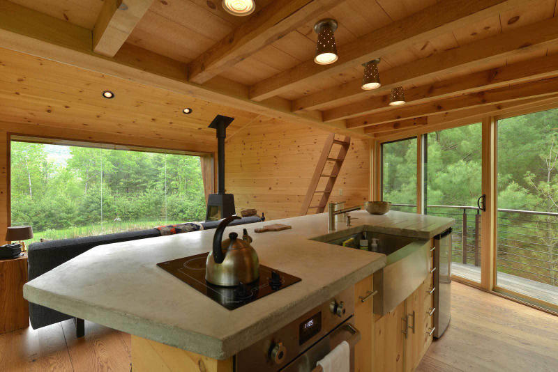 Inhabit Treehouse Woodstock New York NY Houses Wooden Interior Exterior Catskills Mountains Woodland Forest Open Plan Lounge Wood Burner Kitchen Spacious Loft Bedroom Shower Room Bathroom