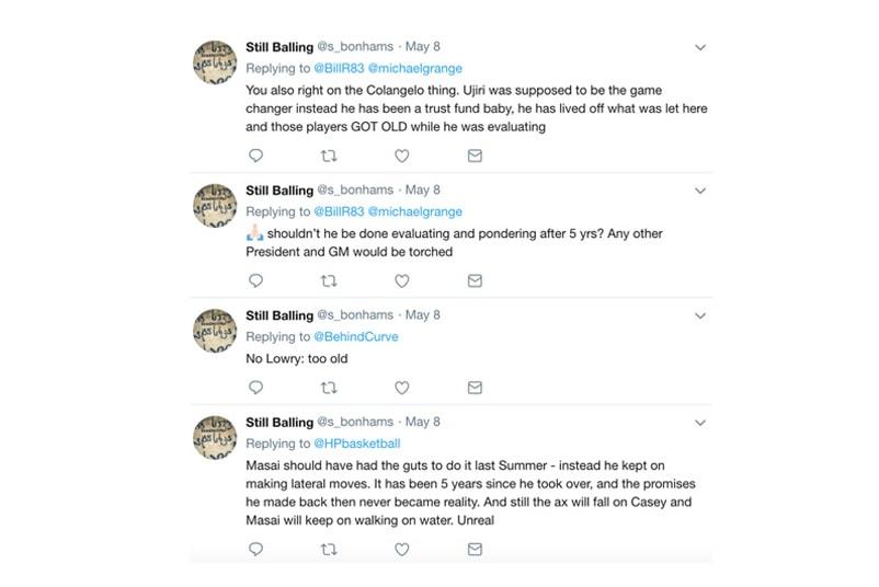 76ers のバスケットボール運営部門代表が Twitter の裏アカウントでチームの選手たちを批難? チームの大黒柱であるジョエル・エンビードにも蹴りを食らわせたいとTweetするなど、合計5つのアカウントを使用していた疑惑が浮上 Ben Simons(ベン・シモンズ)の活躍もあり、フィラデルフィア・76ersはNBAの数ある球団の中で最も実りのある1年を過ごしたことだろう。だが、76ersのバスケットボール運営部門代表を務めるBryan Colangelo(ブライアン・コランジェロ)に、とある疑惑が浮上した。  『The Ringer』によると、トロント・ラプターズの元GMはTwitterの裏アカウントを使用し、自身の医療情報の公開のほか、チームの大黒柱であるJoel Embiid(ジョエル・エンビード)を含む一部所属選手たちを批難していたという。『The Ringer』が発見したそれと思しきアカウントは、@phila1234567、@AlVic40117560/Eric_jr、@Honesta34197118、@Enoughunkownso1、@s_bonhamsの計5つ。最後のアカウントについては、最近までツイートがあったとのことだ。  『The Ringer』は5月22日(火)、76ersに前述のアカウントがBryan Colangeloと関係しているのではないかというメールを送信。すると、その日のうちに全てのアカウントが公開アカウントから非公開アカウントへと変更された。さらに、@s_bonhamsは彼の元エージェントや彼の息子のカレッジバスケのチームメイトなど、37人をアンフォローしたという。  Embiidの批判をしていたアカウントは、@AlVic40117560/Eric_jr。2017年4月のTweetでは、「Embiidの馬鹿みたいなダンスは最悪で、(チーム全体に)大惨事をもたらした。次回は彼のチームから嘲られる前に2度考えるべきだね」と発言。また、「もし私がマネージメントの立場であれば、はしごに登って彼のケツに蹴りをお見舞いしてるね」と続けている。  76ersは一連の騒ぎについて、Colangelo自身が5月29日(火)付けで以下の声明を発表。  スポーツ業界にいる多くの同僚と同様に、私はソーシャルメディアを情報を得る手段として使用してきました。一方で、私はソーシャルメディアにいかなる投稿もしておらず、私は@Phila1234567のTwitterアカウントを使用して、我々の業界と最近のイベントなどをモニターしてきました。これが多くのレベルで私に貢献したことは間違いありません。ですが、私は注意喚起をされたその他のアカウントとは一切関係がなく、その背後に誰がいて、それらのアカウントを使用する動機さえ存じ上げません。  これにはJoel Embiid本人もリアクションを発しているが、彼はこのストーリーを全く信じていない模様。このアカウントではNerlens Noel(ナーレンズ・ノエル)、Jahlil Okafor(ジャリル・オカフォー)、さらにはDwyane Wade(ドウェイン・ウェイド)とその妻Gabrielle Union(ガブリエル・ユニオン)にも言及していたようだが、ストーリーの全貌を知りたい方は、『The Ringer』のレポートをチェックしてみてはいかがだろうか。