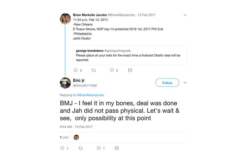 Bryan Colangelo Philadelphia 76ers Secret Twitter Account Jahlil Okafor Joel Embiid Markelle Fultz Burner Account President of Basketball Operations