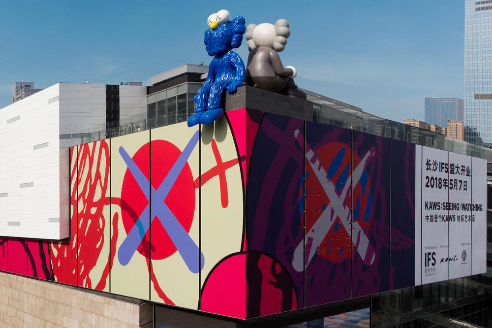 kaws seeing watching companion bff permanent sculptures installations changsha ifs