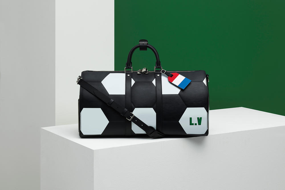 Louis Vuitton Fifa 2018 world cup collaboration luggage bag apollo keep all wallet leather goods epi soccer football branding flag luggage tag duffel laptop case black red white blue color customizable june 14 july 17 2018 limited edition exclusive drop release info