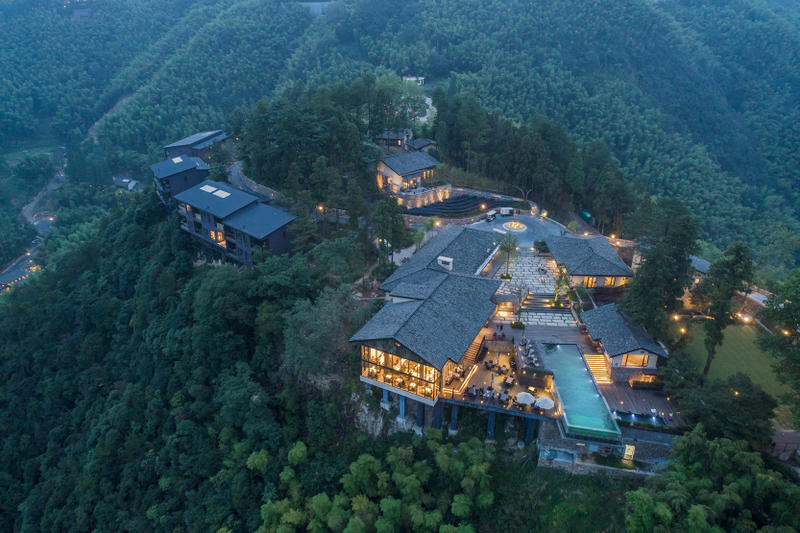 """""""Naked Castle"""" Shanghai Tianhua Architectural Design China Modern Interior Exterior Woodland Trees Swimming Pool Restaurant Hotel"""