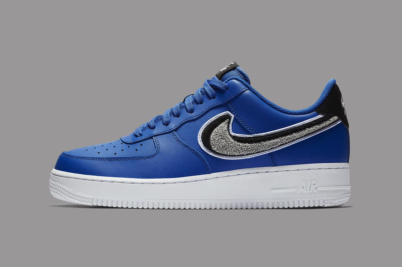 6cb46c5c41be7 Nike Air Force 1 Low 3D Chenille Swoosh blue black grey sneakers footwear. 1  of 6