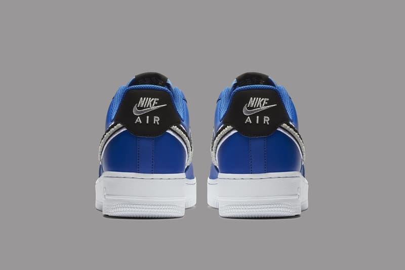 Nike Air Force 1 Low 3D Chenille Swoosh blue black grey sneakers footwear