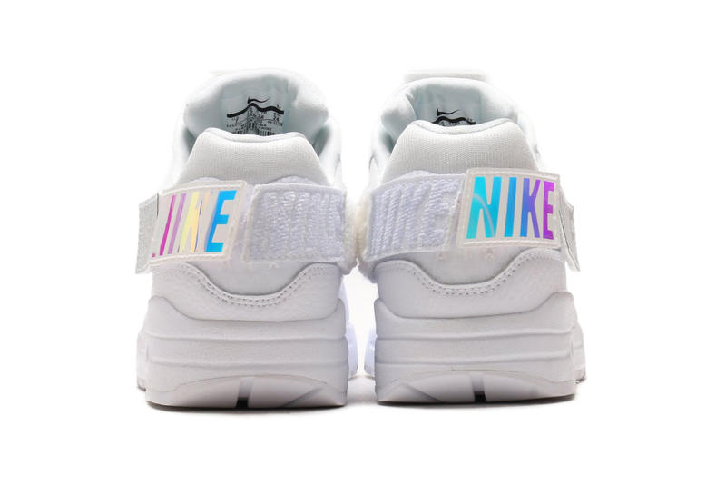Nike Air Max 1 100 Triple White velcro patches customizable may 2018 release date info drop sneakers shoes footwear atmos