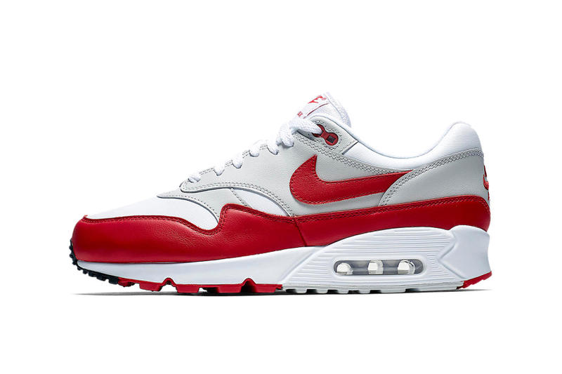 Nike Air Max 1 x 90 Hybrid White Red Colorway Closer Look Release Date Details Cop Purchase Buy Now Raffle Kicks Shoes Trainers Sneakers