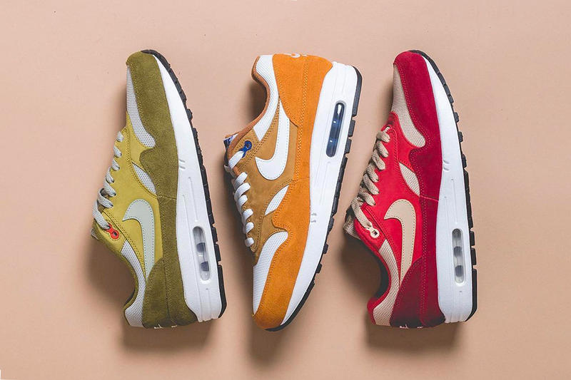 best sneakers f682e 23d67 Nike Air Max 1 Curry Pack Rerelease release info sneakers footwear yellow  red green suede