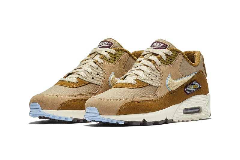 418dc4881 Nike Air Max 90 Chenille Swoosh First Look tan release date sneaker price  blue suede leather