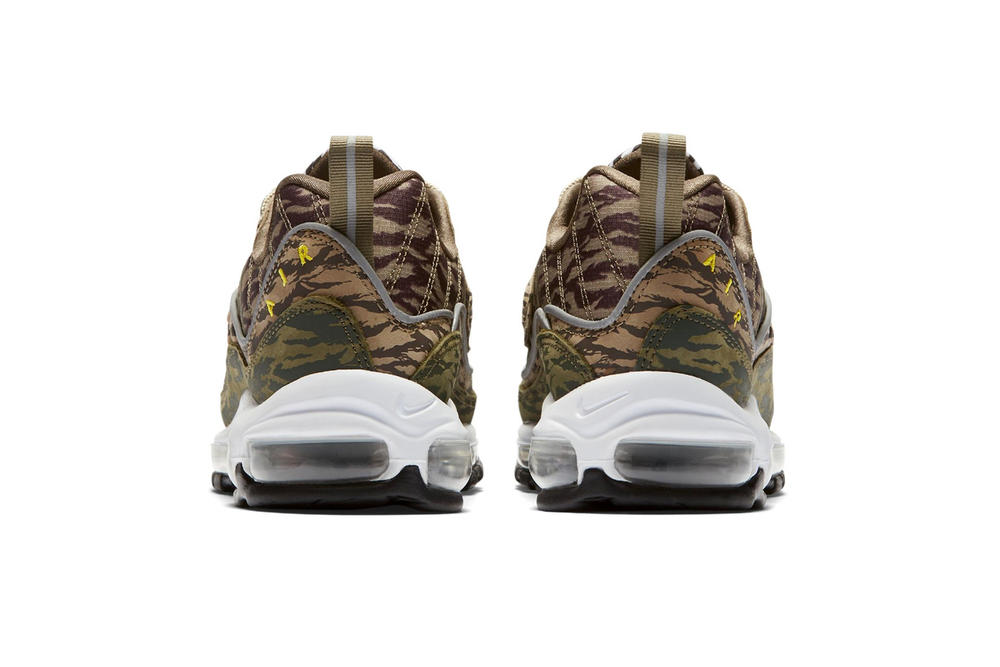 """Nike Air Max 98 """"AOP"""" Pack Release Date camo black white price all over print sneakers purchase"""