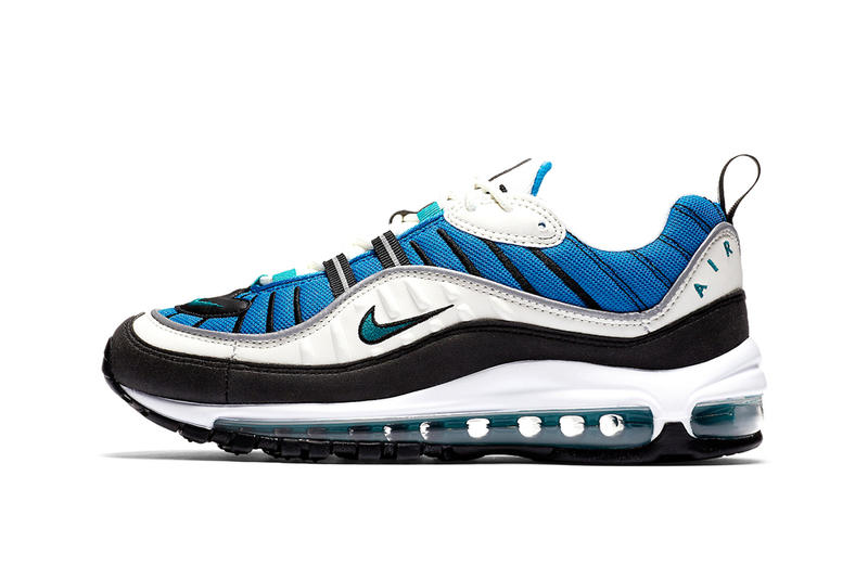 Nike Air Max 98 blue nebula sail radiant emerald
