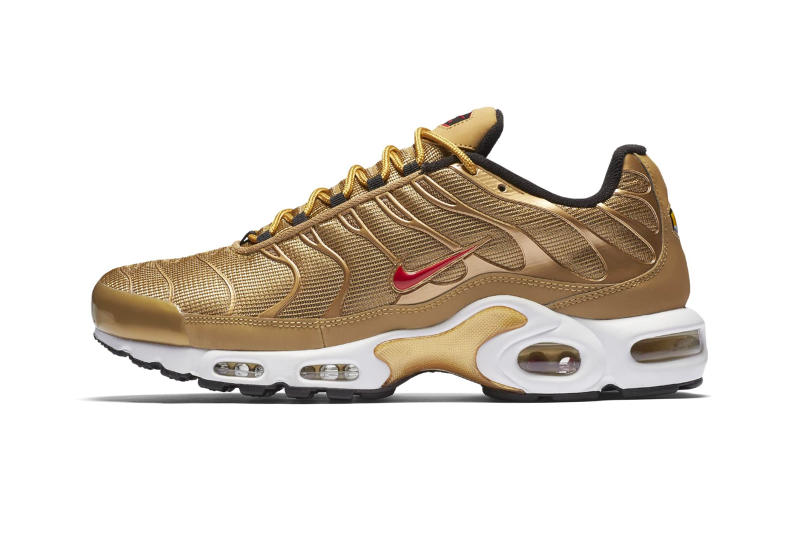 119cf179af32 Nike Air Max Plus Metallic Gold Rerelease release info sneakers footwear