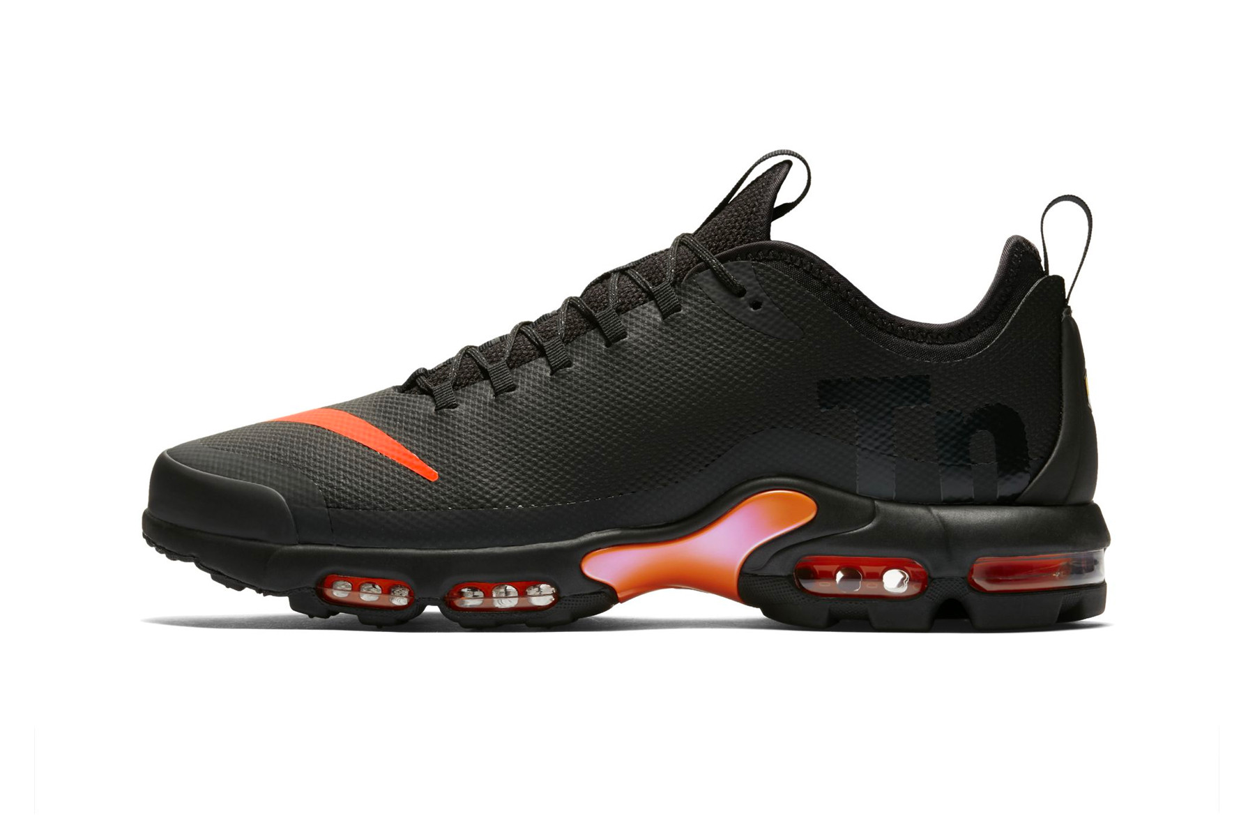 nike air max plus orange and black