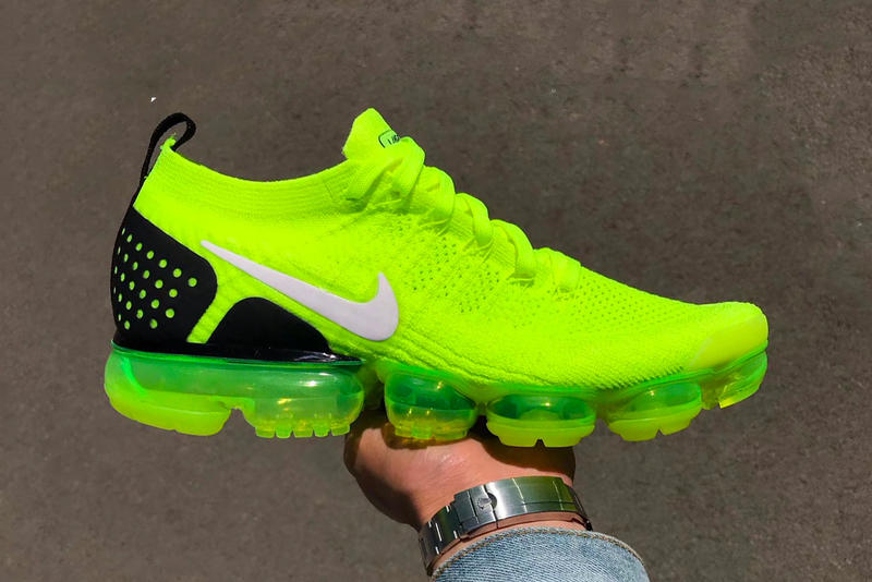 6144b994af Nike Air VaporMax Flyknit 2 Volt First Look Release date purchase neon  yellow sneaker