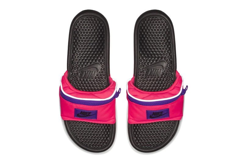 Nike benassi jdi fanny pack slides black pink