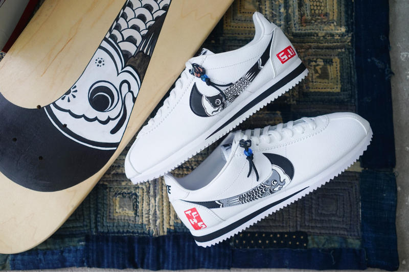 Nike classic Cortez Koinobori The Flying Hawk Studio Simple Union custom sneakers white blue print