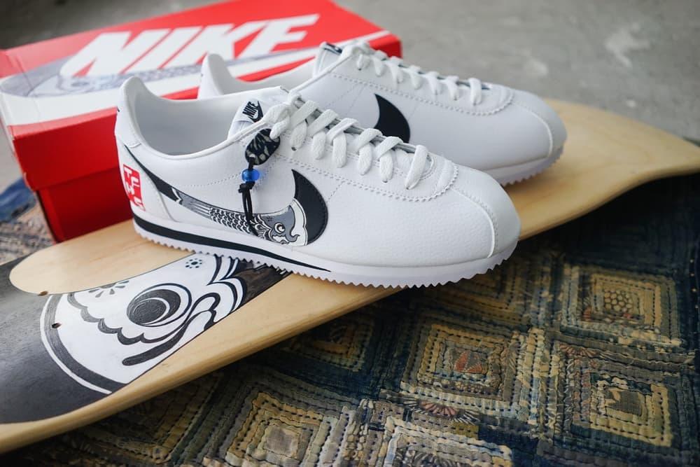 Nike classic Cortez Koinobori The Flying Hawk Studio Simple Union custom sneakers white blue print