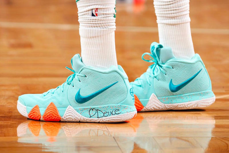 low priced 8c445 d2883 Jayson Tatum Nike Kyrie 4 aqua teal power is female We Are a New Generation  sneakers