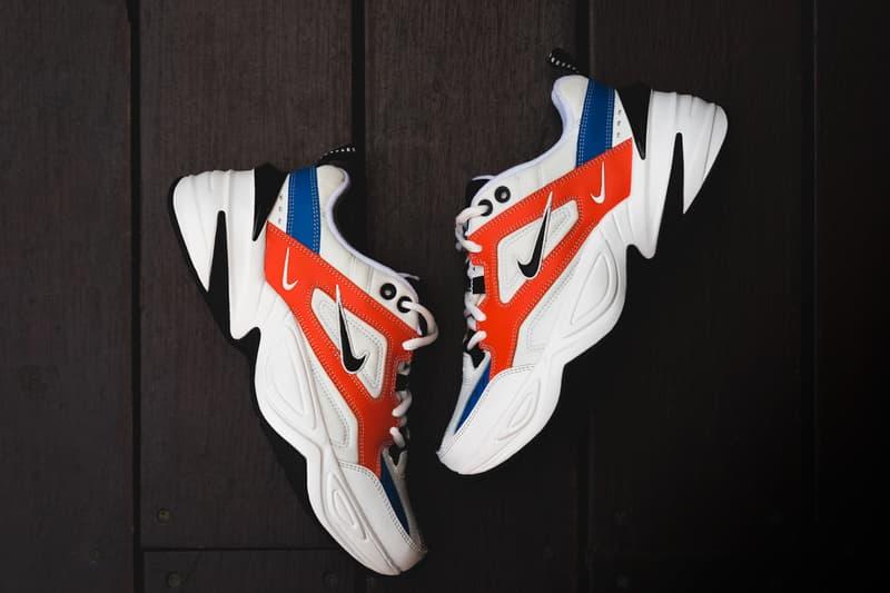 Nike M2K Tekno on foot John Elliott footwear 2018 white black red blue