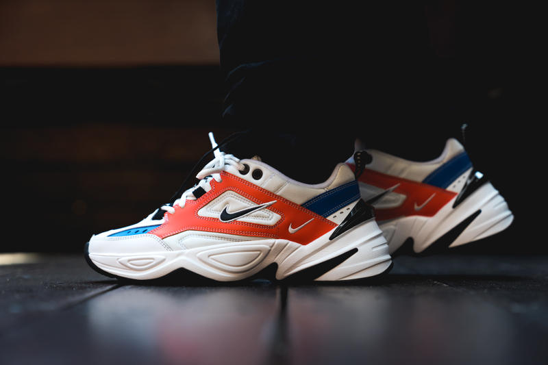 Nike M2K Tekno on foot John Elliott footwear 2018 white black red blue