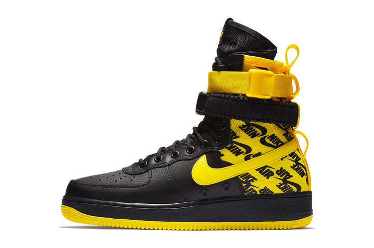 "new style 2149d d8722 Nikes SF-AF1 High Combines Black Leather With ""Dynamic Yellow"" Ballistic  Nylon"