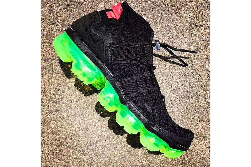 fc6eab688822 Nike Applies a Bright Neon Sole to the Air VaporMax Utility Model.  Complementing its black Flyknit upper.