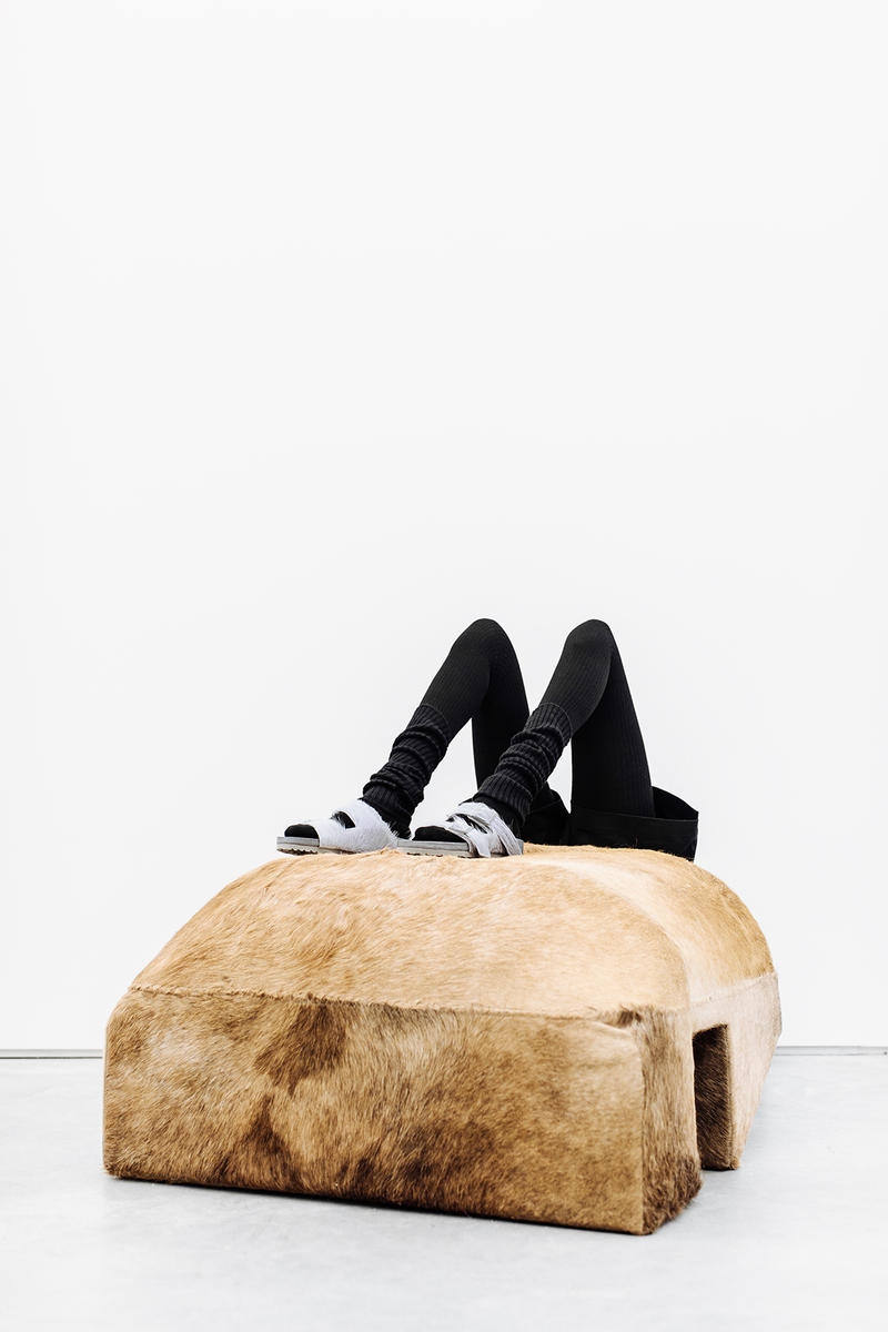 Rick Owens Birkenstock box spring summer 2018 collection collaboration Arizona Madrid Boston sock knit fur suede leather cow felt collaboration drop april 2018 black grey