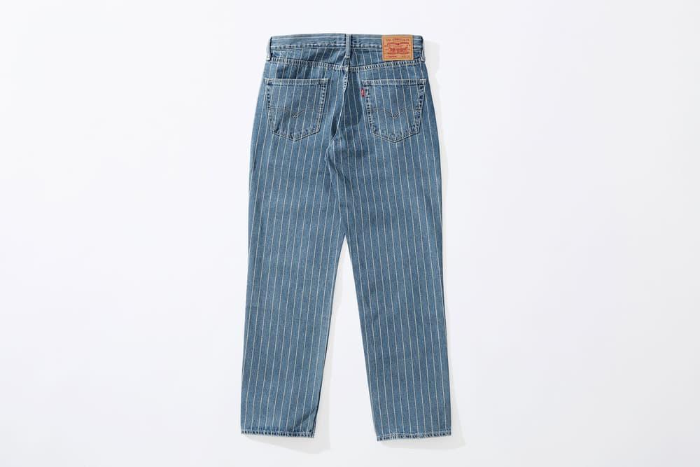 Supreme x Levi's stonewashed pinstripe 550 Jeans blue