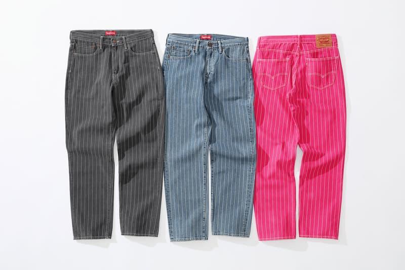 Supreme x Levi's stonewashed pinstripe 550 Jeans black blue pink