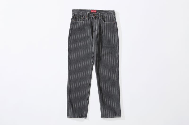 Supreme x Levi's stonewashed pinstripe 550 Jeans black
