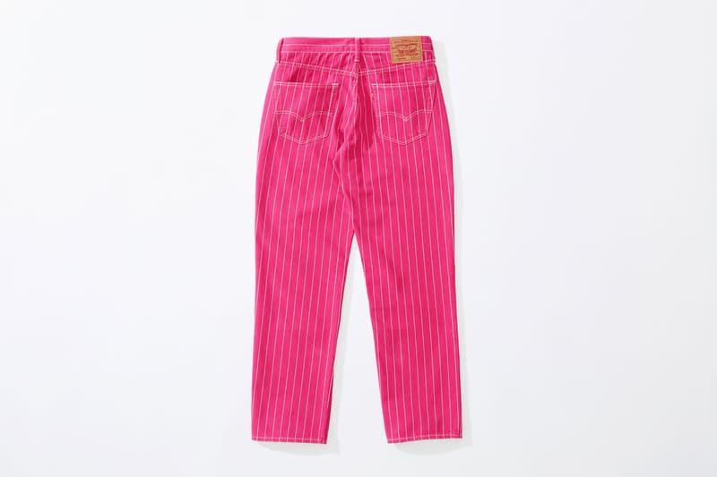 Supreme x Levi's stonewashed pinstripe 550 Jeans pink